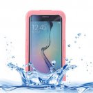 For Galaxy S6 Edge+ Pink IP x 8 PVC + Silicone Waterproof Case with Lanyard