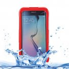 For Galaxy S6 Edge+ Red IP x 8 PVC + Silicone Waterproof Case with Lanyard