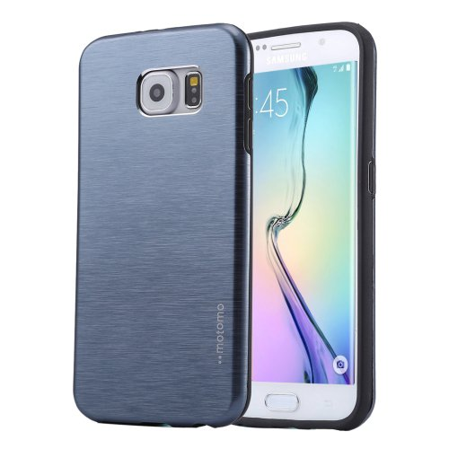 For Galaxy S6 Edge+ Dark Blue MOTOMO Brushed Texture Metal + TPU Case
