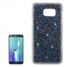 For Galaxy S6 Edge+ Blue Fashionable Electroplating Diamond Hard Case