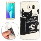 For Galaxy S6 Edge+ Black Cat Words Pattern TPU Protective Case