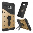 For Galaxy S6 Edge+ Gold Rotating Tough Armor TPU+PC Case with Holder
