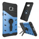 For Galaxy S6 Edge+ Blue Rotating Tough Armor TPU+PC Case with Holder