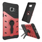 For Galaxy S6 Edge+ Red Rotating Tough Armor TPU+PC Case with Holder
