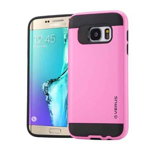 For Galaxy S6 Edge+ Pink Brushed Texture PC + TPU Protective Case