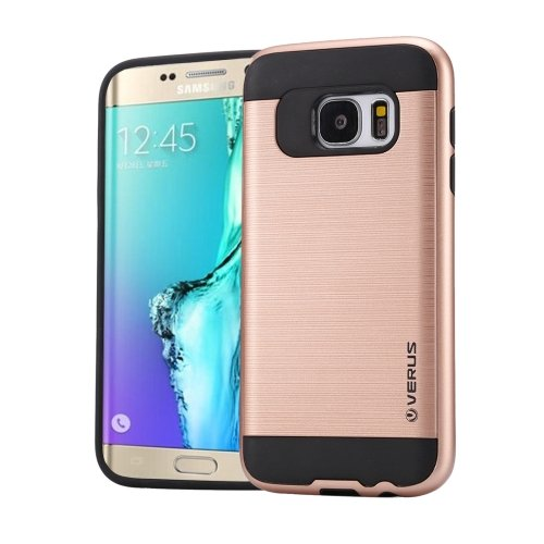 For Galaxy S6 Edge+ Rose Gold Brushed Texture PC + TPU Protective Case