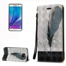 For Galaxy Note 5 Feather Pattern Leather Case with Holder, Card Slots & Lanyard