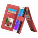 For Galaxy Note 5 Red Leather Billfold with Detachable Magnetic PC Case