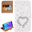 For Galaxy Note 5 Heart Diamond Leather Case with Holder & Card Slots