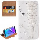 For Galaxy Note 5 Flowers Diamond Leather Case with Holder & Card Slots