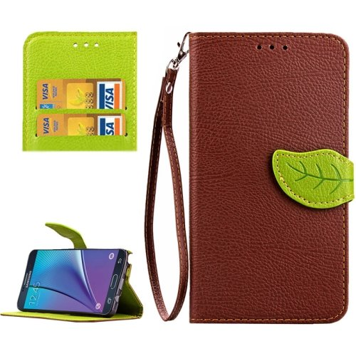 For Galaxy Note 5 Brown Leaf Leather Case with Card Slots, Holder & Wallet