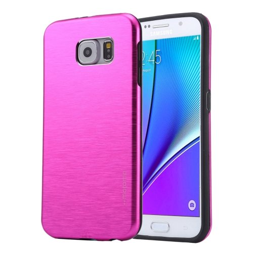 For Galaxy Note 5 Magenta Motomo Brushed Texture Metal + TPU Protective Case