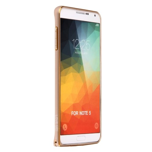 For Galaxy Note 5 Gold LOVE MEI Metal Aluminum Bumper Frame