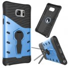 For Galaxy Note 5 Blue Rotating Tough Armor TPU+PC Case with Holder