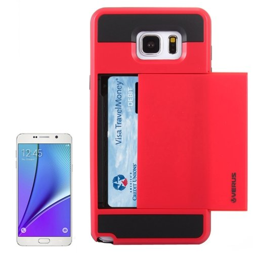 For Galaxy Note 5 Red Plastic + Silicone Combination Case with Card Slot
