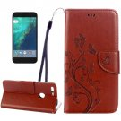 For Google Pixel XL Coffee Leather Case with Holder, Card Slots & Wallet