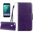 For Google Pixel D Purple Leather Case with Holder, Card Slots & Wallet