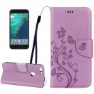 For Google Pixel Purple Leather Case with Holder, Card Slots & Wallet