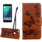 For Google Pixel Brown Butterfly Leather Case with Holder, Card Slots & Wallet