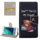 For Google Pixel Bear Pattern Leather Case with Holder, Card Slots & Wallet
