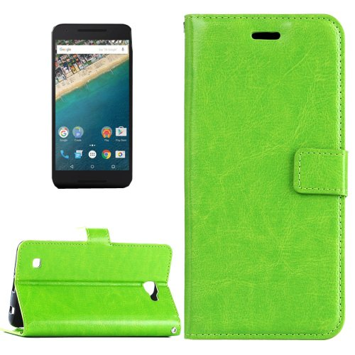 For Nexus 5X Green Crazy Horse Leather Case with Holder, Card Slots & Wallet