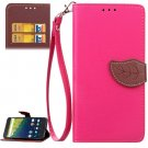 For Nexus 6P Magenta Litchi Leaf Leather Case with Holder, Card Slots & Wallet