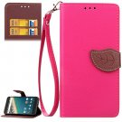 For Nexus 5X Magenta Litchi Leaf Leather Case with Holder, Card Slots & Wallet
