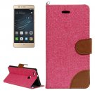 For Huawei P9 Lite Denim Pink Leather Case with Holder & Card Slots