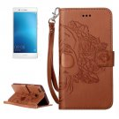 For Huawei P9 Lite Brown Skull Leather Case with Holder, Card Slots & Wallet