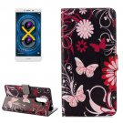 For Honor 6X Butterfly Pattern Leather Case with Holder, Card Slots & Wallet