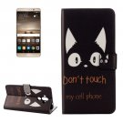 For Huawei Mate 9 Words Cat Leather Case with Holder, Card Slots & Wallet