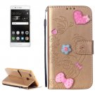 For Huawei P9 Gold Flowers Leather Case with Holder, Card Slots & Wallet