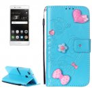 For Huawei P9 Blue Flowers Leather Case with Holder, Card Slots & Wallet