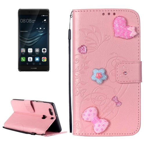 For Huawei P9 Plus Pink Flowers Leather Case with Holder, Card Slots & Wallet