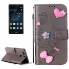For Huawei P9 Plus Grey Flowers Leather Case with Holder, Card Slots & Wallet