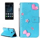 For Huawei P9 Plus Blue Flowers Leather Case with Holder, Card Slots & Wallet