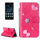 For Huawei P9 Plus Magenta Flowers Leather Case with Holder, Card Slots & Wallet