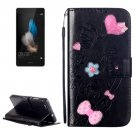 For Huawei P8 Lite Black Flowers Leather Case with Holder, Card Slots & Wallet