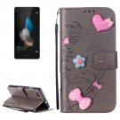 For Huawei P8 Lite Grey Flowers Leather Case with Holder, Card Slots & Wallet
