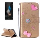 For Huawei P8 Lite Gold Flowers Leather Case with Holder, Card Slots & Wallet