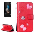 For Huawei P8 Lite Red Flowers Leather Case with Holder, Card Slots & Wallet