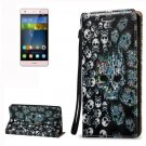 For Huawei P8 Lite 3D Skull Leather Case with Holder, Card Slots & Lanyard