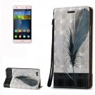 For Huawei P8 Lite 3D Feather Leather Case with Holder, Card Slots & Lanyard