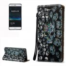 For Huawei P9 Lite 3D Skull Leather Case with Holder, Card Slots & Lanyard