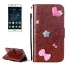 For Huawei P9 Brown Heart Leather Case with Holder, Card Slots & Wallet