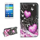 For Huawei Y6 Hearts Pattern Leather Case with Holder, Card Slots & Wallet