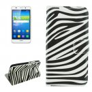 For Huawei Y6 Zebra Pattern Leather Case with Holder, Card Slots & Wallet