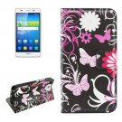 For Huawei Y6 Butterfly Pattern Leather Case with Holder, Card Slots & Wallet