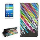 For Huawei Y6 Meteor Pattern Leather Case with Holder, Card Slots & Wallet