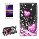 For Huawei Y3 II Hearts Pattern Leather Case with Holder, Card Slots & Wallet